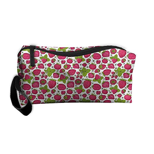 (Kla Ju Portable Pen Bag Purse Pouch Strawberry Picture Stationery Storage Organizer Cosmetic Holder)