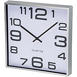 Bernhard Products Large Wall Clock, 11 Inch Modern Large Square Elegant Wall Clock- Quality Quartz, Silent Non-Ticking Battery Operated Silver/Matte Gray, Decorative Home Clock