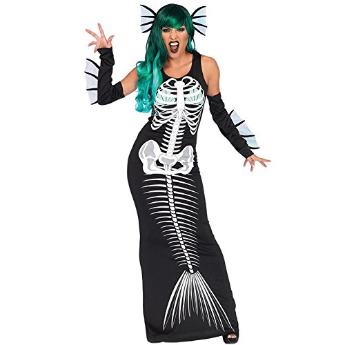 Holloween Costume Mermaid Print Skeleton Round Slim Three-Piece Performance Suit, Black, L -