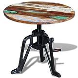 Festnight Retro Vintage Coffee Table Height Adjustable Solid Reclaimed Wood 60 x (42-63) cm