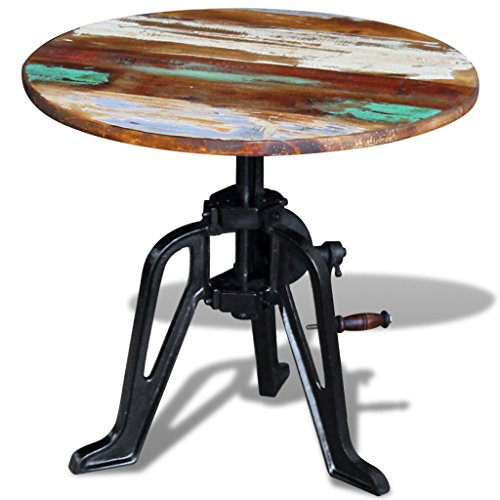 (Daonanba Industrial Style Sturdy Side Table Dyrable Round End Table Solid Reclaimed Wood Cast Iron)