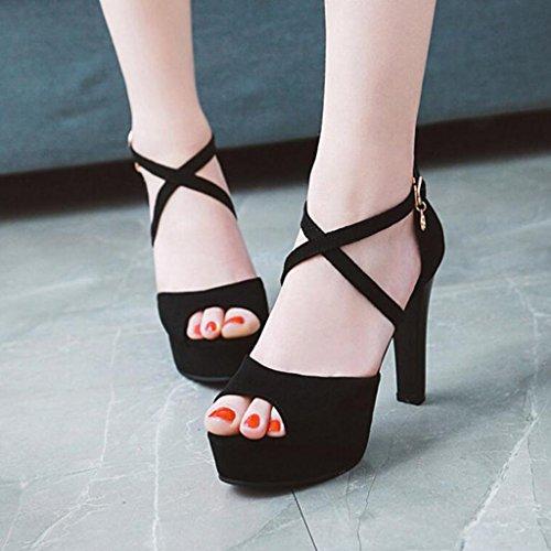 Givré Croisées Été Chaussures De Couleur Mince Noir Nude Sandales Poisson De Sangles Talons Talons Hauts Femelle Chaussures Bouche Femme De XqEwnII5