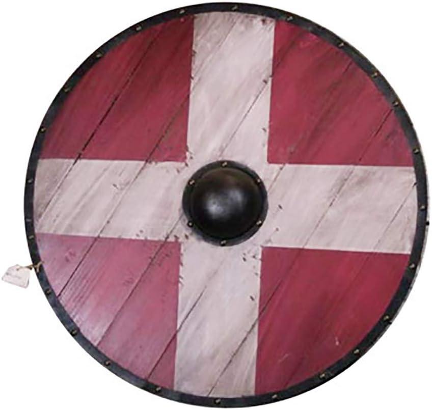 honglimeiwujindian Excelente Textura Escultura de Madera Placa Medieval Cruz Blanca Escudo decoración de la Pared del Escudo de Viking Escudo Medieval Popular (Color : Rojo, Size : 60x60cm)