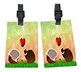 Hedgehogs in Love Wedding Illustration Design Plastic Flexi Luggage Identifier Tags + Strap Closure