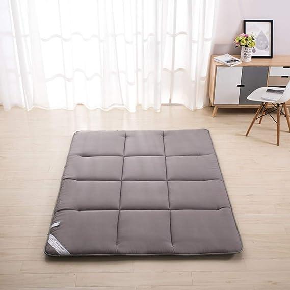 WJH Mullido colchón Transpirable, Tatami de Piso, Colchón futón japonés Antibacteriano Anti-ácaros Microfibra Suave Reina Sleeping Pad-Gris ...