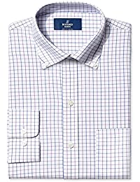 Men's Classic Fit Plaid Pattern Non-Iron Dress Shirt
