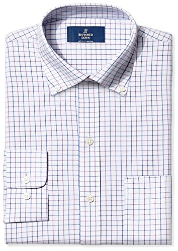 (BUTTONED DOWN Men's Classic Fit Button-Collar Non-Iron Dress Shirt, Grey/Purple/Blue Tattersall Check, 16.5