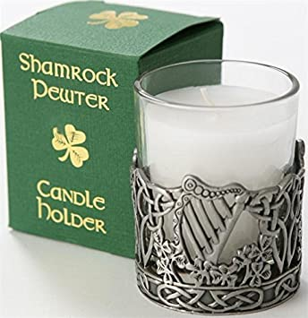 Pewter Candle Holder Harp by Shamrock Gift Company Amazonca