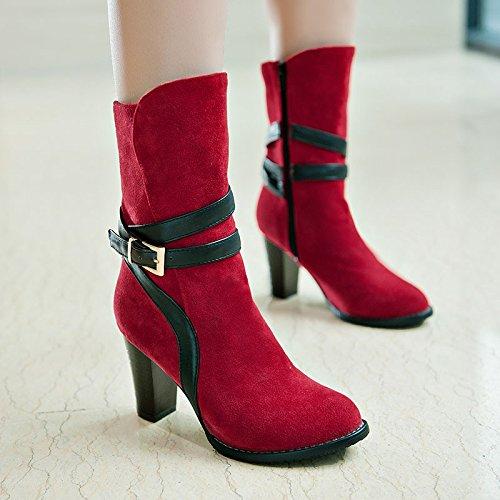 hebilla botas ZQ gran versátil y mujeres red número botas Otoño Invierno de con y elegante QX cortas gruesa un e w1XUqWrF1