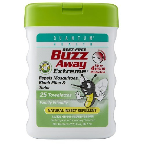 Quantum Buzz Away Extreme Towelettes, Natural Insect Repellent 25 ea by Quantum