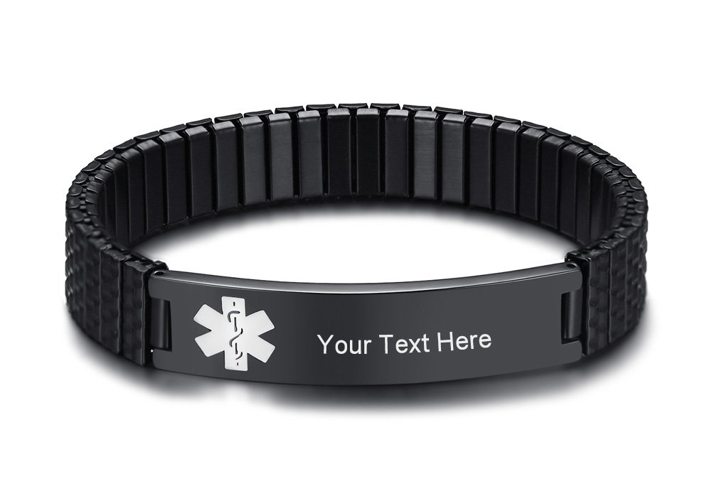 VNOX Free Engraving Black Stainless Steel Medical Aert ID Strentch Bracelet for Women Girl,7''-7.2''