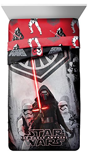 Star Wars EP7 Rule Galaxy Twin/Full Comforter - Super Soft Kids Reversible Bedding features Darth Vader and Stormtroopers - Fade Resistant Polyester Microfiber Fill (Official Star Wars Product)