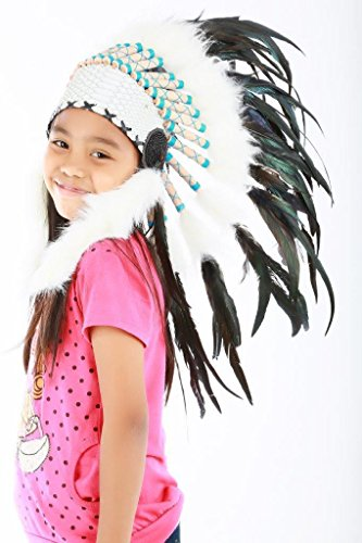 Mardi Gras Around The World Costumes (N31-From 5-8 years Child's:natural color feather Headdress 21 inch–53,34 cm)