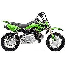 AMR Racing Honda CRF50 2004-2011: Diamond Flames - Black Green MX Dirt Bike Graphic Kit