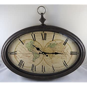 Amazon vincenzo world map wall clock available in 8 sizes world map antiqued bronze framed wall clock gumiabroncs Image collections