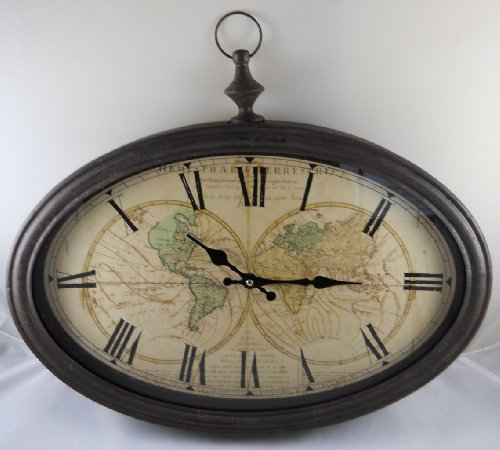 World Map Wall Clock with Antiqued Bronze Case (World Map Clock Old)