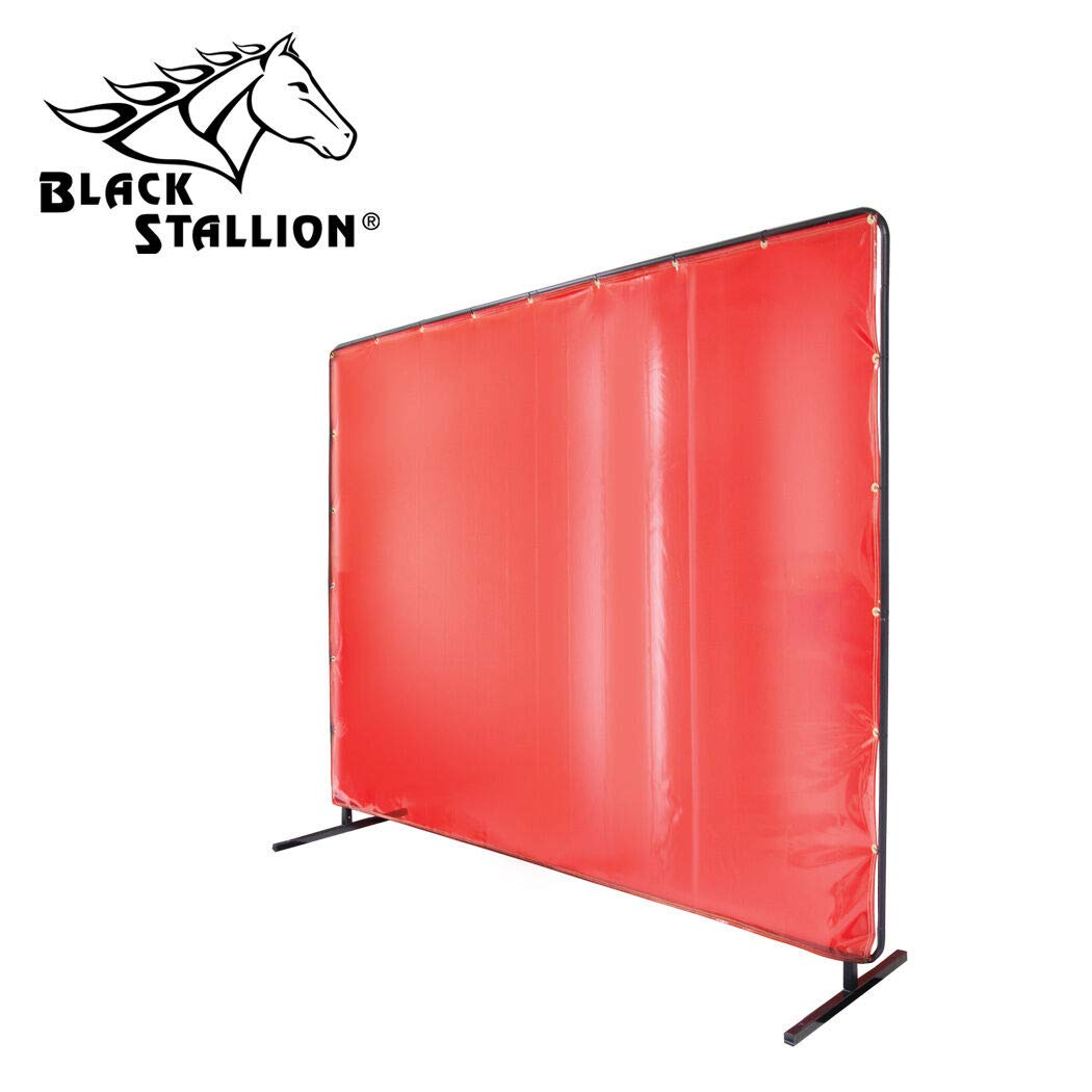 GSParts Revco Black Stallion 6' x 8' Orange Welding Curtain/Screen with Frame - 14 mil by GSParts