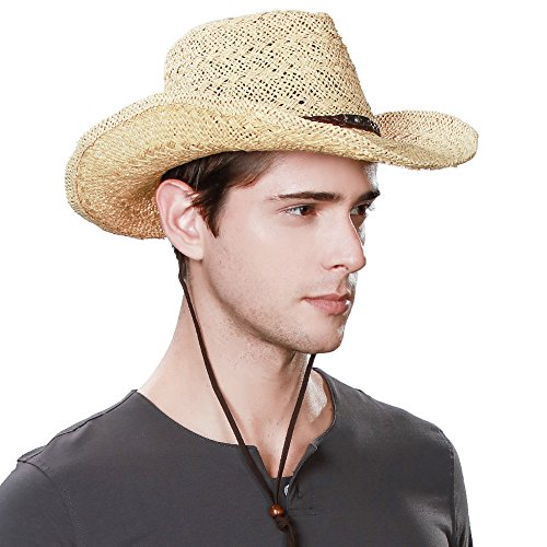 Jeff & Aimy Western Aussie Style Outback Hat Leather Cowboy Cowgirl Hats Straw Sunhat Shapeable Brim with Chin Strap Beige - Hat Outback Cap