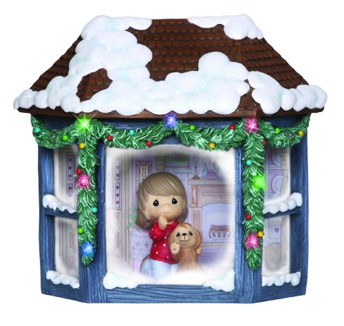 """Precious Moments, Girl and Puppy Watching Snowfall"""", Resin Music Box, Lighted, ()"""