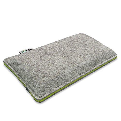 Stilbag Etui Feutre 'FINN' pour Apple iPhone 7 - Couleur: gris/vert pomme