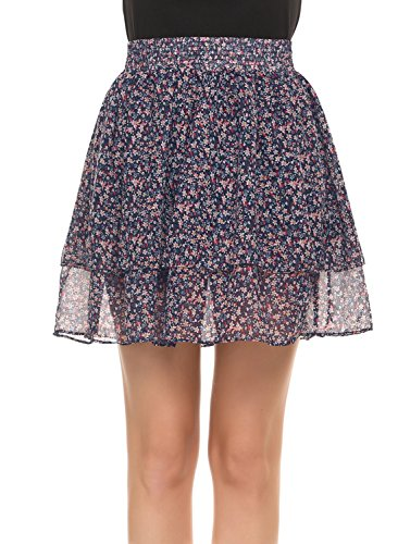 POGTMM Women's Plus Size Floral Print Chiffon Casual Skater Mini Skirt (4XL, Navy Blue)