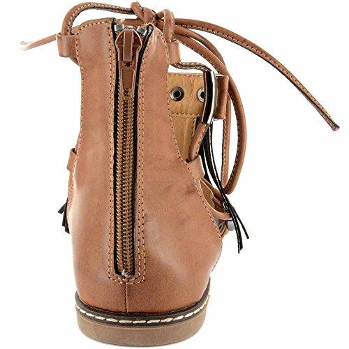 Corkys Mujeres Blake Lace Up Fringe Sandal (camel, 8)
