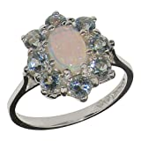 18k White Gold Natural Opal and Aquamarine Womens Cluster Ring - Sizes 4 to 12 Available