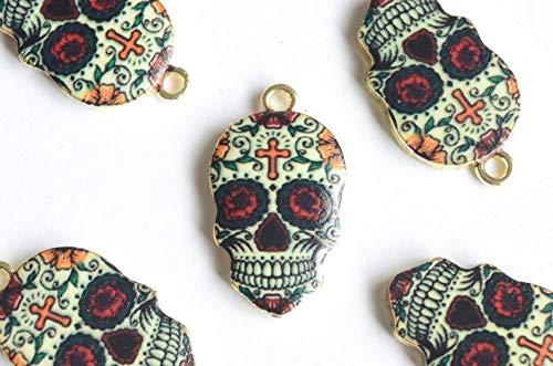 World's Natural Treasures Skull Pendant, Sugar Skull Charm 4 Pieces