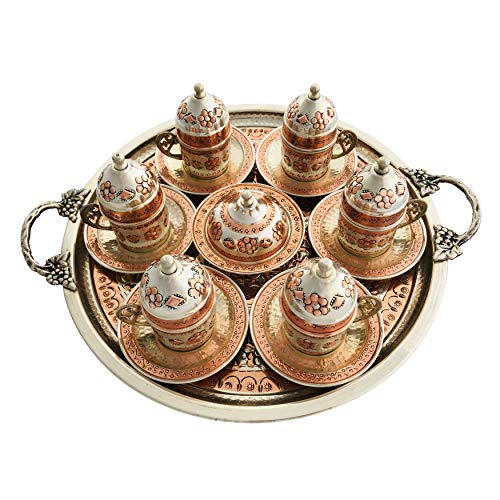 Copper Turkish Coffee Set, Six Greek Armenian Arabic Espresso Porcelain Cups Tray Sugar Bowl, with Silver-plate detail, Handcrafted by Mandalina Magic by Mandalina Magic (Image #1)