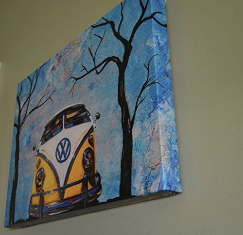 """1960's Yellow Volkswagen Bus, 12"""" x 16"""" artist signed pre stretched canvas PRINT, 21 window, VW Bus, 1966, camper bus, fathers day, gift, christmas, present, men, man"""