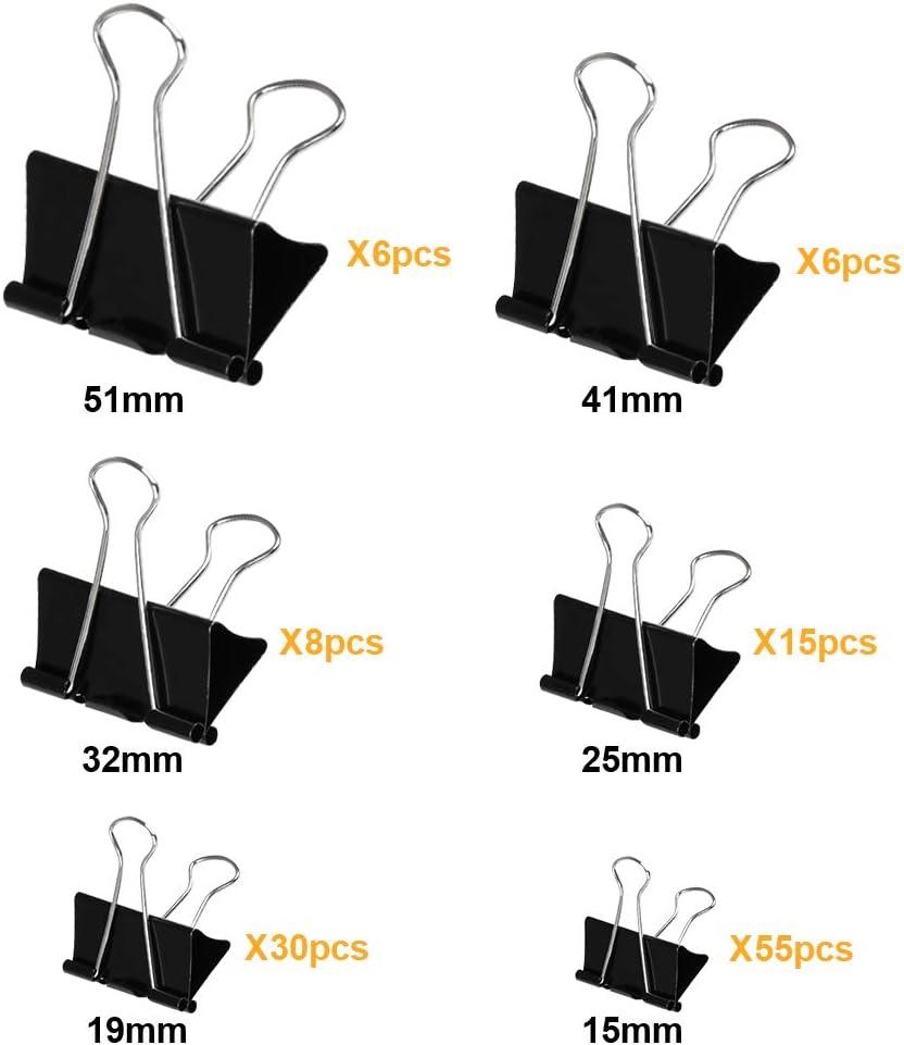 金属製 軽く開く ダブルクリップ ブラック 書類整理 保管用 120個入 51mm 41mm 32mm 25mm 19mm 15mm Atpwonz 豆~超特大まで六種のサイズ