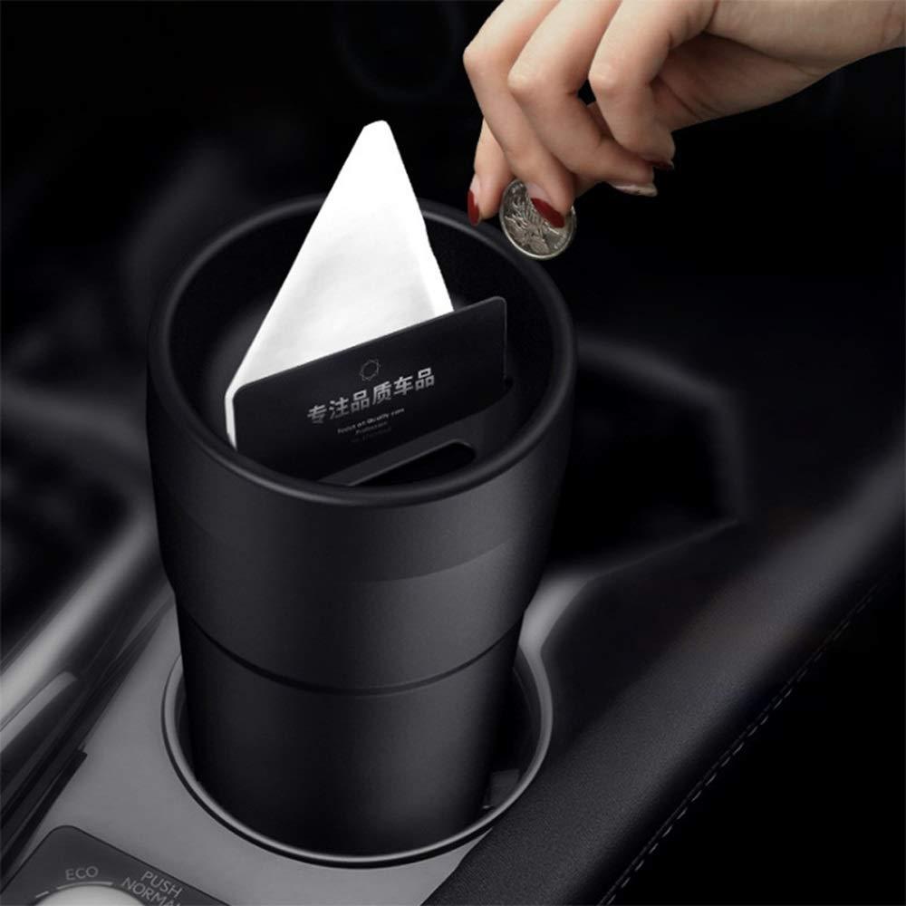 Poubelle de voiture Color : Black Mini poubelle de voiture Cendrier de stockage de d/échets de conteneur de d/échets de cendrier de voiture avec la tasse de pi/èce de monnaie de porte-cartes