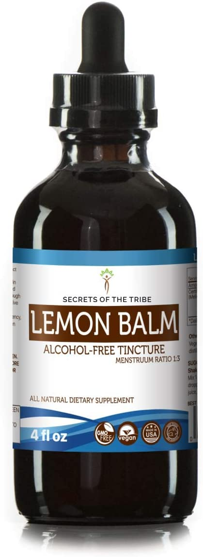 Lemon Balm Tincture Alcohol-Free Liquid Extract, Organic Lemon Balm Melissa officinalis Dried Leaf 4 FL OZ