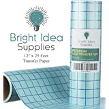 "Bright Idea 12"" x 25 Feet CLEAR Transfer Paper Tape Roll with Grid - Self Adhesive Application Tape Roll for Perfect Alignment of Silhouette Cameo, Cricut Adhesive Vinyl for Decals, Signs, Walls,Glass"