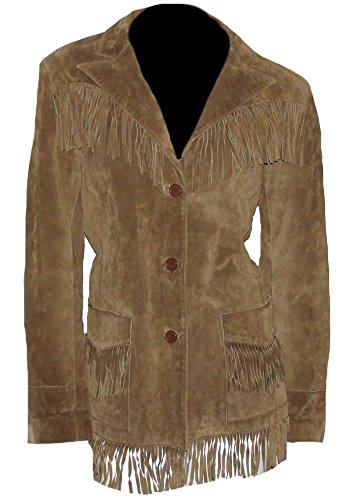- Classyak Women's Cowgirl Suede Leather Fringed Coat Brown Large