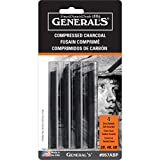 General Pencil 957ABP Compressed Charcoal Sticks 4/Pkg-Black - Soft Assorted