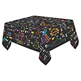 InterestPrint Tablecloth Cover Math Linear Mathematics Education Circle Home Decor 52 X 70 Inch, Children Student Back to School Fabric Desk Table Cloth for Dining Room Kitchen Party Decoration