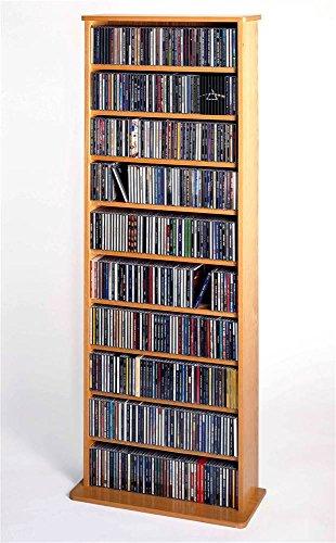 Cd Storage Oak Cabinet - Leslie Dame CDV-500 High Capacity Oak Veneer Multimedia Storage Rack, Oak