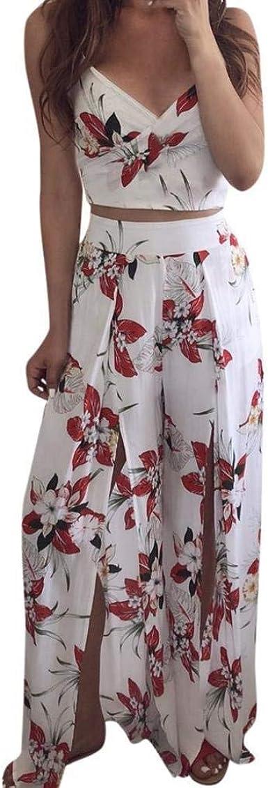 Mujer Set Crop Y Pedazos 2 Top Pantalones Verano Mode De Marca Vintage Fashion Elegantes Floreadas Traje Pantalon Sin Mangas Sling V Cuello Sin Barriga Camisas Y Pantalones Anchos Amazon Es Ropa Y Accesorios