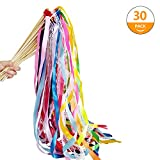 Hangnuo 30 Pack Wedding Wands Ribbon Streamers with Bell and Lace Fairy Stick Party Favor for Birthday Baby Shower Event Celebration, Mix Color