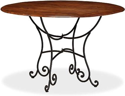 Festnight Tavolo Da Pranzo Rotondo Design Retro Vintage In Legno Massello E Acciaio Tavolo Rotondo Da Cucina Legno Classico Tavolo Rotondo Da Giardino Esterno Retro 120x76 Cm Amazon It Casa E Cucina