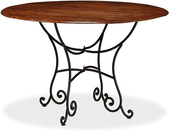 Tavoli Da Giardino Vintage.Festnight Tavolo Da Pranzo Rotondo Design Retro Vintage In Legno