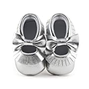 Delebao Infant Toddler Baby Soft Sole Tassel Bowknot Moccasinss Crib Shoes (0-6 Months, Silver)