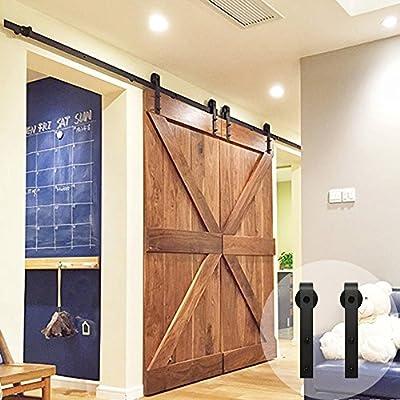 WINSOON - Kit de puerta corredera para barniz, con 4 ruedas colgadoras de perfil bajo: Amazon.es: Bricolaje y herramientas