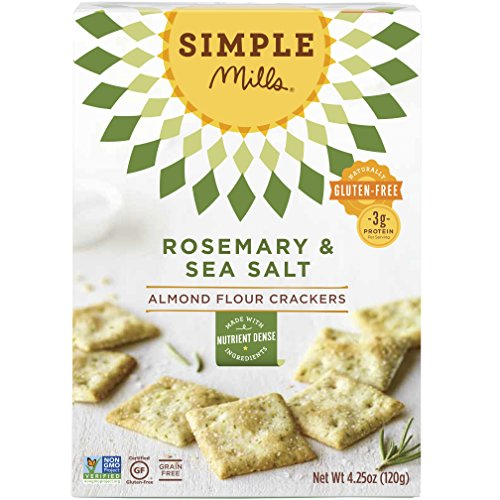 (Simple Mills Almond Flour Crackers, Rosemary & Sea Salt, Naturally Gluten Free, 4.25 oz)