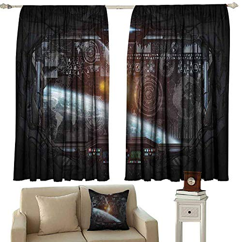 (Sliding Curtains Outer Space Decor Control Panel of Cockpit Screen in Spaceflight Androids World Stardust Orange Gray Blackout Draperies for Bedroom Window W96 xL108)