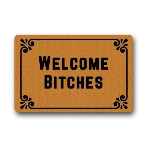 Welcome Bitches – Funny Doormats Personalized Durable Machine-washable Indoor/outdoor Door Mat 23.6″(L) x 15.7″(W) Inch