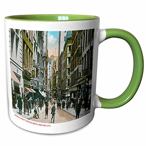 3dRose BLN Scenes of New York City Collection - Nassau Street Looking North, New York City - 15oz Two-Tone Green Mug (mug_170147_12)