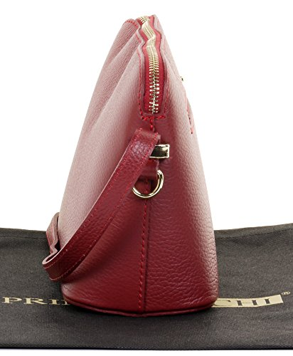Leather Branded Bag Shoulder Sacchi or Storage Italian Small Primo Red Crossbody Bag Triangular Genuine Textured Includes Dark xI6W71