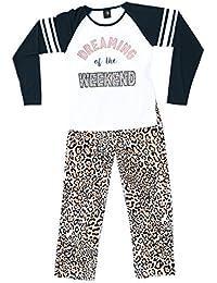 Two Piece Girls Screen Print Pajamas Set - Jersey Top - Fleece Bottom